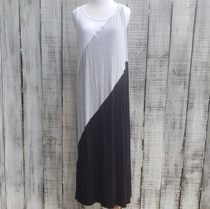Athleta L Maxi Dress Sleeveless White Gray Black